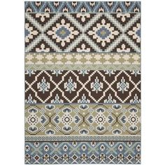 "Safavieh Veranda Piled Indoor/Outdoor Chocolate/Blue Polypropylene Rug (8' x 11'2"") - Overstock™ Shopping - Great Deals on Safavieh 7x9 - 10x14 Rugs. Perfect colors ,great pattern. Very thin polypro."