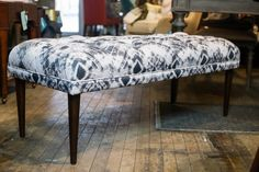 """This versatile piece freshens any space with a clean, white/gray printed fabric Dimensions: 49"""" long x 21"""" deep x 19"""" high This custom piece has an approximate two week delivery time"""