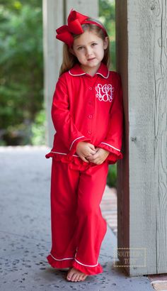 "Pre Order Southern Tots ""Girls"" Red Buttondown Loungewear (October)"