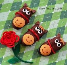 Kentucky Derby Horse Cookies:  Made from Pepperidge Farm Dark Chocolate Milano Melts, Mini Nilla Wafers, licorice ropes, tootsie rolls for ears, and caramel for the mane (cut with a mini daisy cookie cutter).