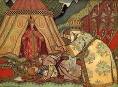 Ivan Bilibin – Illustration to The Tale of Golden Cockerel (1906). Tsar Dadon meets the Queen of Shemakha.