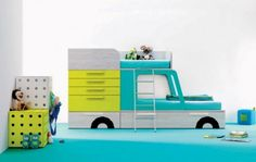 idee kinderzimmer gestaltung auto grün blau