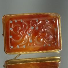10 Solid Yellow Gold Carved Carnelian Retro by GrandmothersEstate