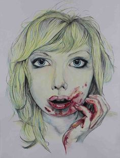 a Watercolor Illustration featuring a woman with a bloody mouth and hand. #iron #blood #pale #bleeding #girl #blonde #painting #watercolor #contemporaryart #myart #onlineart #onlineartgallery #myonlineartgallery #themindisright #art  see more @ the mind is right http://themindisright.com/Project/Iron