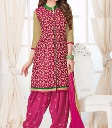 Buy Multicolor embroidered Cotton unstitched salwar with dupatta dress-material online