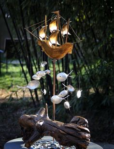 XXL Spoon Fish & Ship Wind Chime on a Driftwood base by nevastarr, $189.95
