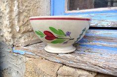 Antique 1900s  French cafe au lait bowl floral par petitbrocante, $25,00