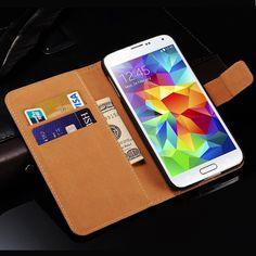 S5 Mini Luxury Genuine Leather Case For Samsung Galaxy S5 Mini G800 Coque Flip Phone Back Cover Stand Design New 2016