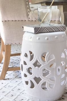 Love this white garden stool in her home office!! Office Rug, Home Office, Best Neutral Paint Colors, Driven By Decor, Entryway Rug, Wood Planters, Indian Home Decor, Indoor Outdoor Rugs, Desk Chair