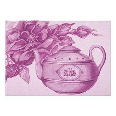Vintage Rose Tea Invitation