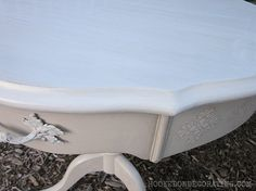 Drum table makeover using raised stencils  From http://hookedondecorating.com
