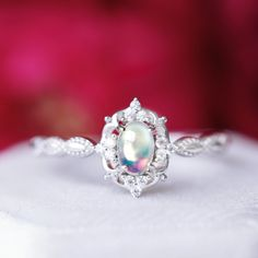 Crown White Opal .925 Sterling Silver Ring Taille 4-12