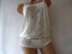 Silk Pajama Set of Milk Silk Milk lace Cami and Ruffled Panty Design, Silk Milk, Silk Pajamas, Just Girl Things, Lace Insert, Sleepwear Women, Pajama Set, Cami, White Shorts