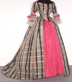 1860's dinner dress. Taupe plaid silk moiré with pink silk.