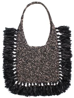 "Black and grey oversized hand woven ""Bora Bora"" beach bag with black fringes, cross body handle and inside pocket. microfiber acrylic, rayon, metallic Width: cm Height: cm Handmade in Georgia Crochet Shoes, Bead Crochet, Knitted Bags, Crochet Bags, Boho Bags, Summer Bags, Bora Bora, Fringes, Purses And Handbags"