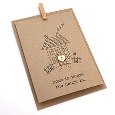 'Home Is Where The Heart Is' Button Box Card New Address Cards, Housewarming Card, Welcome Home Cards, New Home Cards, House Of Cards, Cute Cards, Diy Cards, New Home Gifts, Button Cards