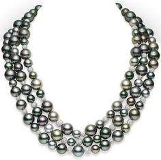 Multicolor Black South Sea Cultured Pearl Necklace -pearl necklace-mikimoto-Classic Pavé Necklace $110,000