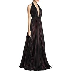 Carmen Marc Valvo Halter Floor-Length Gown (£1,115) ❤ liked on Polyvore featuring dresses, gowns, sleeveless dress, carmen marc valvo gowns, carmen marc valvo dress, halter-neck dress and pleated gown