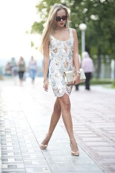 White & Metallic scalloped sequins dress. Style Clouds