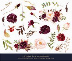 Watercolor floral Clip Art-Marsala Graphic by GraphicSafari