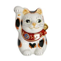 Japanese Online Shop - Ishikawa Kutani Maneki Neko Cat No. 2 (Right/Tortoiseshell): JCRAFTS.com
