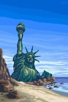 Pixel Art Gallery — mazeon: Planet Of The Apes / Statue Of Liberty. Pixel Art Wallpaper, Pixel Art Gif, Arte 8 Bits, Pixel Art Background, Pixel Animation, 8 Bit Art, Vaporwave Art, Planet Of The Apes, Retro Art