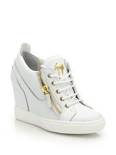 cf96d80f27f8 Giuseppe Zanotti - Leather High-Top Zip Wedge Sneakers   GiuseppezanottiHeels High Top Sneakers