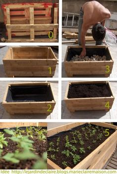 °° Do yourself your flower boxes °°: °° lejardindeclaire °° I like the recycled pallet, pond liner and river rock!