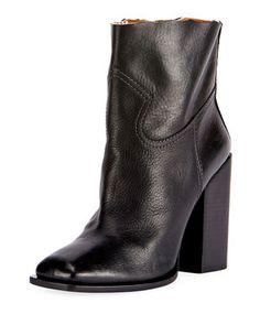 f685898db5e26e Saint Laurent Raw-Edge Leather Block-Heel Boot