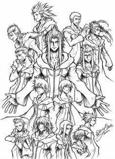 Kingdom Hearts Games, Kingdom Hearts Fanart, Heart Coloring Pages, Disney Coloring Pages, Final Fantasy, Fantasy Art, Kingdom Hearts Wallpaper, Tetsuya Nomura, Concept Draw