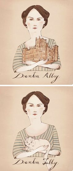 The above images show work from three artists. My husband, Hans, put together the work of two illustrators. The Downtown Abbey image is from Kelsey Garrity Riley and the kitty illustration is from Sarah McNeil. Hans molded the two images together to create Downton Tabby!   //   FOXINTHEPINE.COM