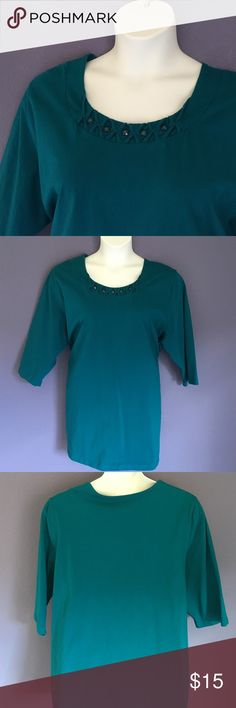 "🎉New Listing🎉 Liz & Me Teal Top w/ Embellishment A great top for the weekend. Pair with jeans for a comfortable look.  Beads around the neckline add a little fun.  Material:  100% Cotton. Measurements:  Length - 32""/Bust - 26"" Liz & Me Tops"