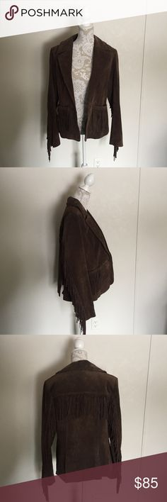 Montana Co fringe leather jacket Gently used brown fringe western style leather jacket. There are light signs of wear, see photos. The front button is also missing. montanaco Jackets & Coats