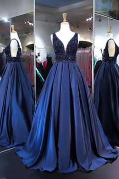 Ball Gown V Neck Satin Long Prom Evening Dresses With Beading PG525