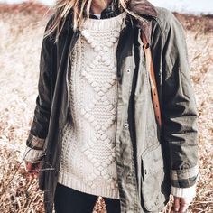 chunky knit sweater and olive green barn jacket