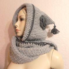 écharpe-capuche tricot fait main