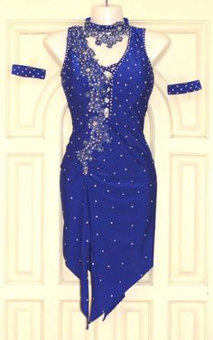 Blue latin dress with silver stones