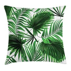 Palm Leaf Throw Pillow Cushion Cover by Ambesonne, Realistic Vivid Leaves of Palm Tree Growth Ecology Lush Botany Themed Print, Decorative Square Accent Pillow Case, 18 X 18 Inches, Fern Green White Green Cushions, Couch Cushions, Couch Sofa, Outdoor Cushion Covers, Palmiers, Decorative Cushions, Throw Pillow Covers, Decoration, Design