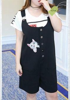 Cute Plus Size U-Neck Button Design Kitten Cross Back Romper For Women