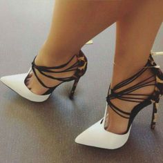 Sexy White and Khaki Leopard Print Heels T Strap Strappy Pumps you best choice for Hanging out -TOP Design by FSJ Black High Heels, High Heels Stilettos, Strappy Heels, Thick Heels, Fashion Sandals, Women's Shoes Sandals, Toe Shoes, Flat Shoes, Strap Sandals