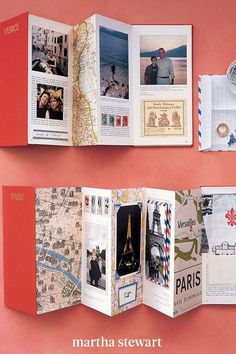 A travel scrapbook can showcase photographs from a recent trip as well as printed ephemera gathered along the way, such as business cards, café napkins, and sightseeing scraps. Follow our simple tutorial for this fun and memorable travelogue. #marthastewart #crafts #diyideas #easycrafts #tutorials #hobby Best Travel Journals, Travel Books, Checklist Camping, Accordion Book, Diy Crafts How To Make, México City, Travelogue, Poses, Travel Design