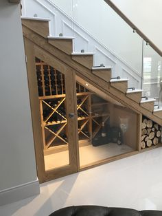Bespoke wine racking for under stairs wine storage, perfect for any home re-desi. Bespoke wine racking for under stairs wine storage, perfect for any home re-design or makeover! Made from hand in the UK using Pine, this wine cellar . Escalier Design, Metal Stairs, Glass Stairs, Glass Walls, Staircase Design, Staircase Storage, Basement Storage, Basement Makeover, Shoe Storage Under Stairs