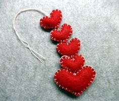 red hearts ornaments