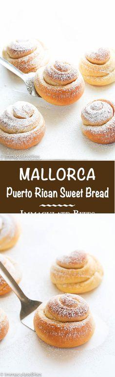 Mallorca Bread (Pan de Mallorca)- An Super Easy Sweet Bread.Mallorca Bread (Pan de Mallorca)- An Super Easy Sweet Bread. Mallorca Bread, Puerto Rico Food, Puerto Rican Recipes, Puerto Rican Dessert Recipe, Pan Bread, Bread Baking, Beer Bread, Bread Cake, Comida Latina