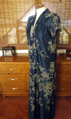Vintage 70s80s Hawaiian Slate Blue Asian Inspired by Calliopegirl, $48.00