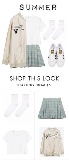 """""""Yugyeom's ideal type (summer)"""" by got7outfits ❤ liked on Polyvore featuring Chicnova Fashion, Monki and adidas Originals"""