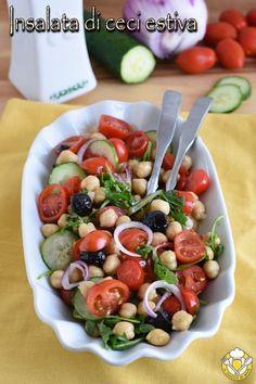 Insalata di ceci estiva - Düşük karbonhidrat yemekleri - Las recetas más prácticas y fáciles Healthy Cooking, Healthy Eating, Cooking Recipes, Vegetarian Recipes, Healthy Recipes, Best Italian Recipes, Detox Recipes, Detox Meals, Pasta Salad Recipes