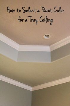 If you have a tray ceiling in your home, it should be a dramatic focal point of the room. One of the most common ways to emphasize your tray ceiling is to paint it a color other than builder beige or white like your ceiling. Luckily, there. Ceiling Paint Colors, Ceiling Painting, Colored Ceiling, Bedroom Paint Colors, Wall Colors, How To Paint Ceiling, Painting Ceilings Tips, Painting Trim, Interior Painting