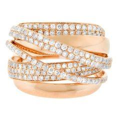 1.44ct Diamond 14k Rose Gold Cross Over Right Hand Ring 4-10