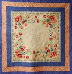 I have my Grandmother's tablecloth and I am dying to make a quilt with it.  What a great idea!